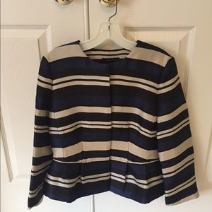 Ann Taylor Peplum Jacket, Royal Stripe, Size 4